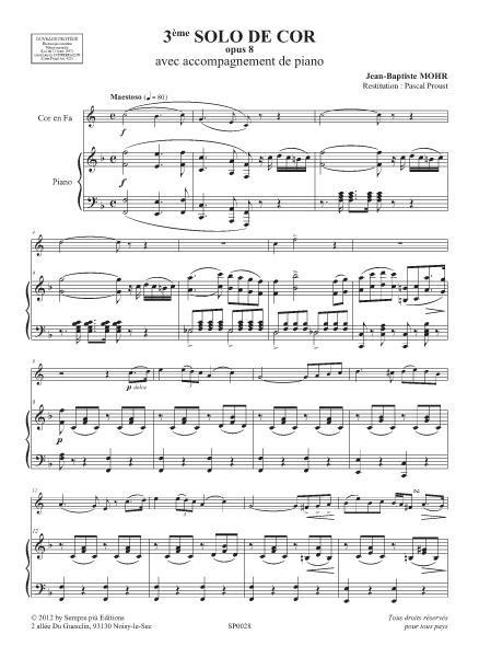 3ème Solo de cor opus 8
