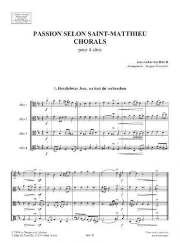 Passion selon St Matthieu, Chorals